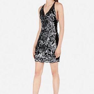 Express sequin and velvet mini low back dress